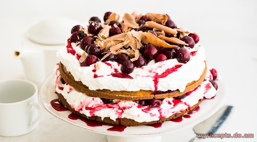 Торт на сметане с вишней фото