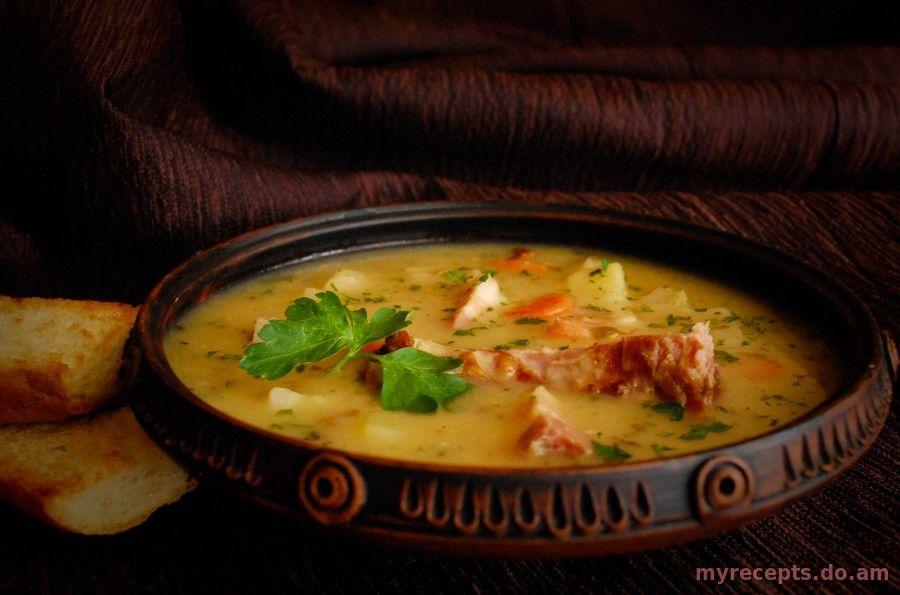 Суп гороховый с копчеными ребрышками в мультиварке рецепт пошаговый